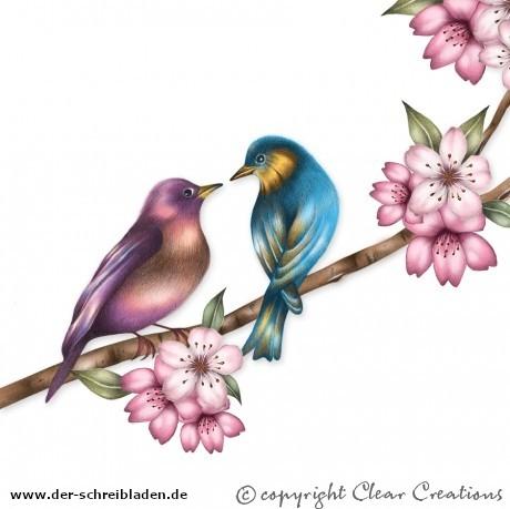Doppelkarte mit dem Motiv zwei Vögelchen auf Ast mit Blüten
