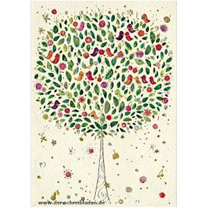 Doppelkarte von Turnowsky mit einem bunten Baum mit Früchten und Vögeln. Im hervorgehobenen Prägedruck mit Heißfolienveredelung gedruckt. Ohne Text