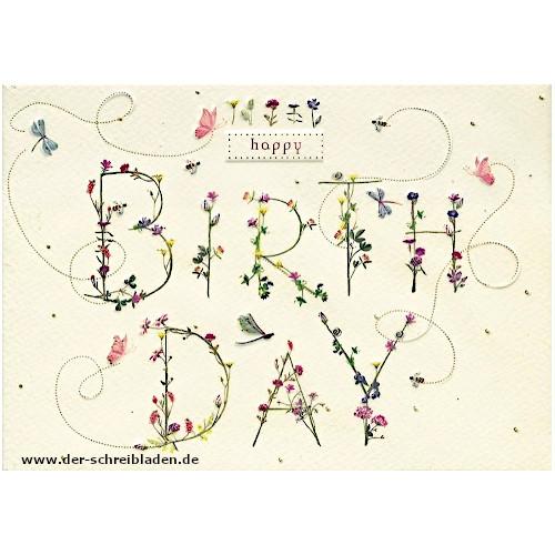 Geburtstagskarte von Turnowksy mit schönem Schriftzug im floralen Design. . Im hervorgehobenen Prägedruck mit Heißfolienveredelung.