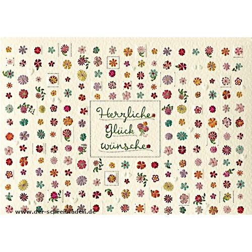 """Glückwunschkarte von Turnowsky mit kleinen Blüten und der Aufschrift """"Herzlichen Glückwunsch"""". Im hervorgehobenen Prägedruck mit Heißfolienveredelung auf Premium-Papier gedruckt."""