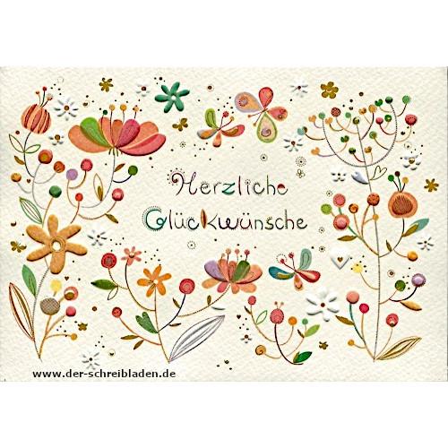 Glückwunschkarte mit fröhlichen und bunten Blumen. Im hervorgehobenen Prägedruck mit Heißfolienveredelung
