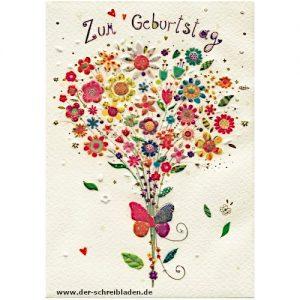 Glückwunschkarte zum Geburtstag von Turnowsky. Das Motiv ist ein bunter Blumenstrauß der von farbenfrohe Schmetterling zusammengehalten wird. Auf Premium-Papier gedruckt und mit Präge- und Heißfoliendruck veredelt