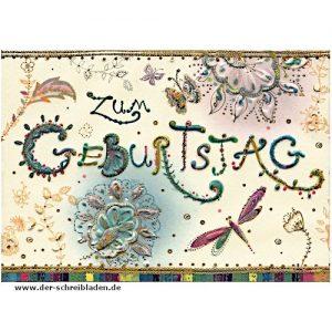 Glückwunschkarte zum Geburtstag mit Umschlag von Turnowsky. Mit kalligrafischem Schriftzug und ornamentalen Motive. Auf Premium-Papier mit Präge-und Heißfoliendruck veredelt