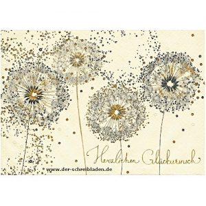 Doppelkarte von Turnowsky mit vier Pusteblumen und Dekor . Im hervorgehobenen Prägedruck mit Heißfolienveredelung. Text Herzlichen Glückwunsch