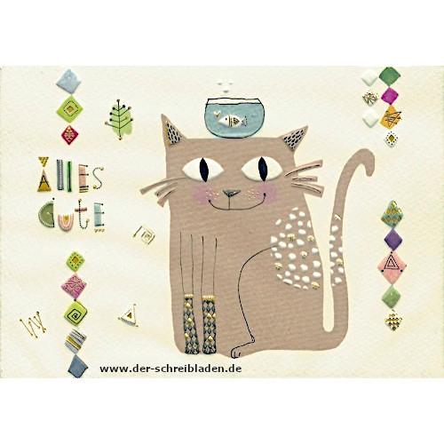 Witzige Doppelkarte mit Katzenmotiv von Turnowsky. Die Katze träge ein Fischglas auf dem Kopf und ist von Ornamenten eingerahmt. Text: Alles Gute. Mit