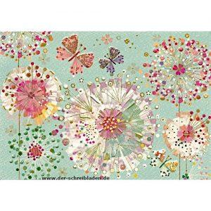 Doppelkarte von Turnowsky mit runden Blumen und Schmetterlinge. Der Hintergrund ist pastellgrün. Auf Premium-Papier gedruckt und mit Präge- und Heißfoliendruck veredelt.