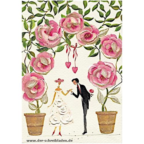 Galante Doppelkarte von Turnowsky mit Rosenbogen und Paar. Auf Premium-Papier gedruckt mit Präge-und Heißfoliendruck veredelt