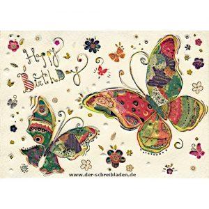 Glückwunschkarte mit Schmetterlingen zum Geburtstag von Turnowsky. Bunt gestaltet mit schöner Kalligrafie Happy Birthday. Auf Premium-Papier mit Präge-und Heißfoliendruck veredelt